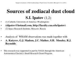 """Signposts of planets"" (NASA Goddard Space Flight Center, Greenbelt, MD, April 12-13, 2011)"