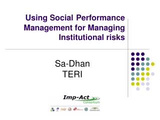 Using Social Performance Management for Managing Institutional risks