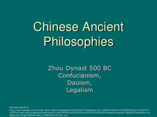 Chinese Ancient Philosophies