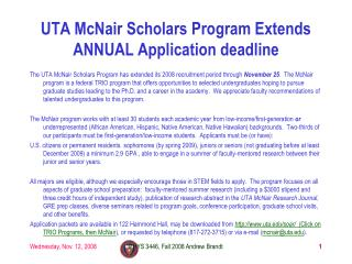 UTA McNair Scholars Program Extends ANNUAL Application deadline