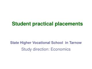 Student practical placements