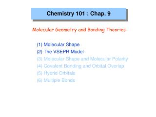 Chemistry 101 : Chap. 9