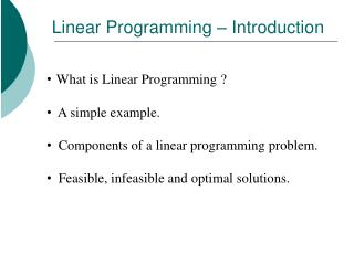 Linear Programming � Introduction