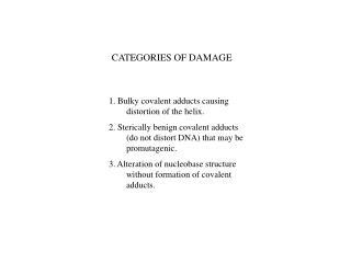 CATEGORIES OF DAMAGE