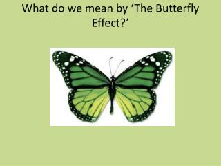 What do we mean by 'The Butterfly Effect?'