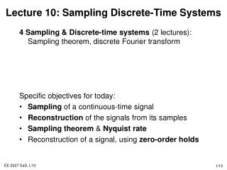 Lecture 10: Sampling Discrete-Time Systems