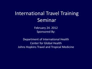 International Travel Training Seminar