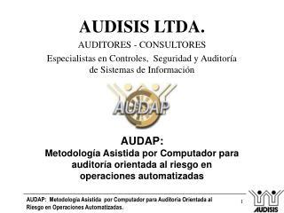 AUDISIS LTDA. AUDITORES - CONSULTORES Especialistas en Controles,  Seguridad y Auditor a de Sistemas de Informaci n