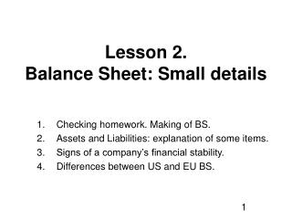 Lesson 2. Balance Sheet: Small details
