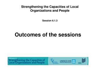 Outcomes of the sessions
