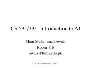 CS 531/331: Introduction to AI