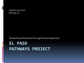 El Paso Pathways Project