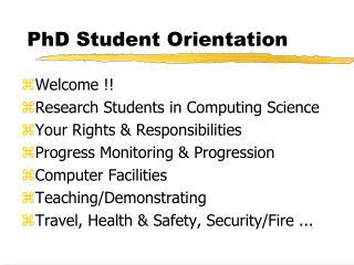 PhD Student Orientation