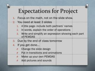 Expectations for Project