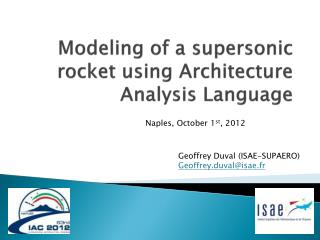 Modeling of a supersonic rocket using Architecture Analysis Language