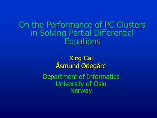 On the Performance of PC Clusters in Solving Partial Differential Equations