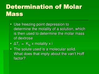 Determination of Molar Mass