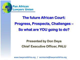 The future African Court:  Progress, Prospects, Challenges –  So what are YOU going to do?