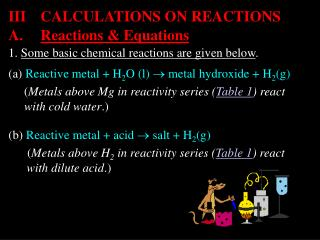 1.  Some basic chemical reactions are given below .
