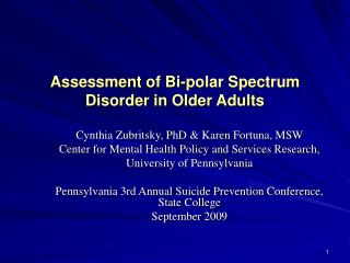 Assessment of Bi-polar Spectrum Disorder in Older Adults