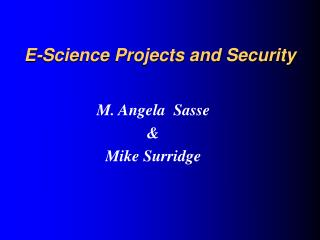 E-Science Projects and Security
