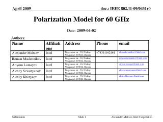 Polarization Model for 60 GHz