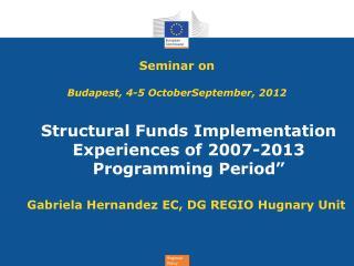 Seminar on Budapest, 4-5 OctoberSeptember, 2012