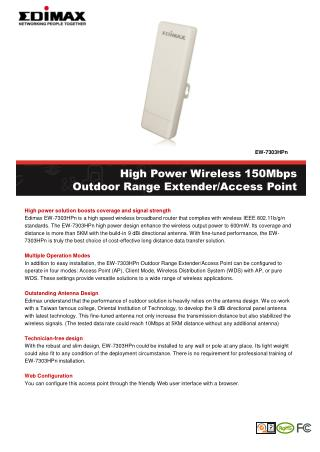 High Power Wireless 150Mbps Outdoor Range Extender/Access Point