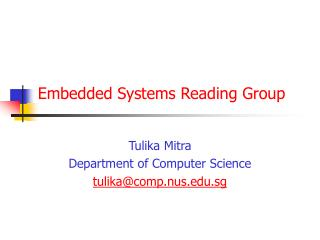 Embedded Systems Reading Group