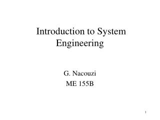 Introduction to System Engineering