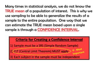 Criteria for Creating a Confidence Interval Sample must be a SRS (Simple Random Sample)