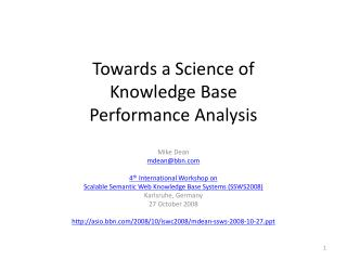 Towards a Science of Knowledge Base Performance Analysis