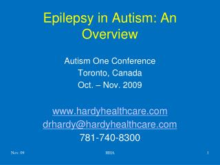 Epilepsy in Autism: An Overview