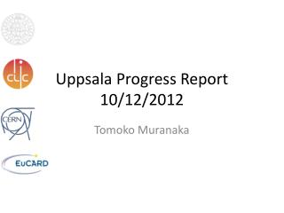Uppsala Progress Report 10/12/2012