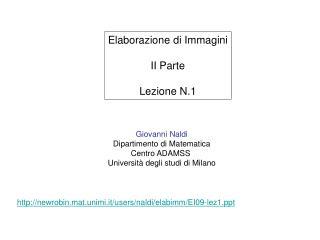 Giovanni Naldi Dipartimento di Matematica Centro ADAMSS  Università degli studi di Milano