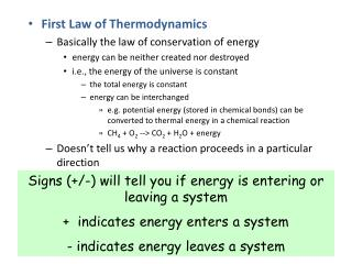 First Law of Thermodynamics Basically the law of conservation of energy