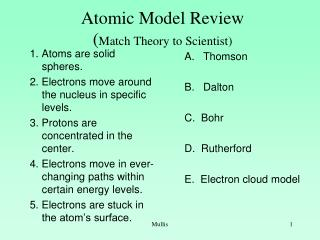 Atomic Model Review ( Match Theory to Scientist)