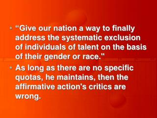Give our nation a way to finally address the systematic exclusion of individuals of talent on the basis of their gender