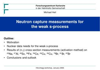 Neutron capture measurements for  the weak s-process