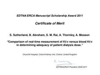 EDTNA/ERCA Manuscript Scholarship Award 20 11 Certificate of  Merit