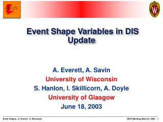 Event Shape Variables in DIS Update