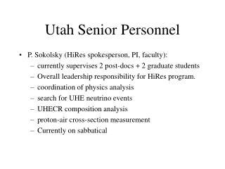 Utah Senior Personnel