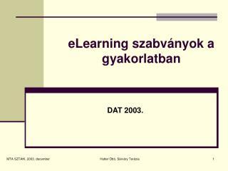 eLearning szabványok a gyakorlatban