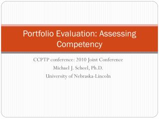 Portfolio Evaluation: Assessing Competency