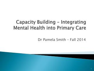 Capacity Building – Integrating Mental Health into Primary Care
