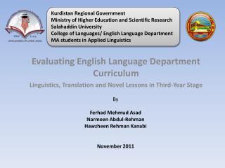 Evaluating English Language Department Curriculum