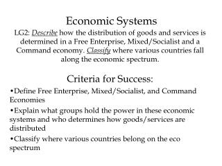 Criteria for Success: Define Free Enterprise, Mixed/Socialist, and Command Economies