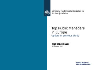 Top Public Managers in Europe U pdate of previous study
