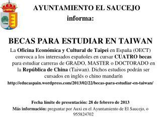 AYUNTAMIENTO EL SAUCEJO  informa: BECAS PARA ESTUDIAR EN TAIWAN