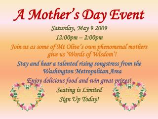 A Mother's Day Event